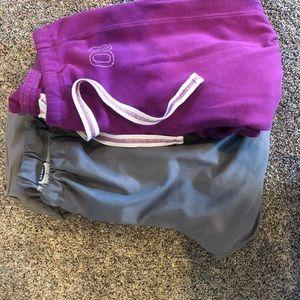 Pants - Lot of 2, gray track pants, purple sport capris